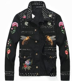 Длинная черная джинсовая куртка онлайн-Лучшие продажи хорошее качество новый мужская джинсовая куртка черный личность вышивка multi-панк Локомотив куртка мужская мода повседневная тонкий long-sl