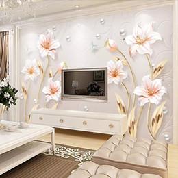 Современные обои цветы онлайн-3D фрески простые цветы лилии тиснением ТВ фон стены гостиной настенные покрытия диван нетканые обои современные фрески