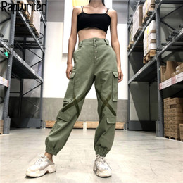 Rapwriter Fashion Cross Bright Strip Stretch pantaloni a vita laterale grandi pantaloni a vita laterale 2018 Autunno sciolto pantaloni cargo matita fondo da