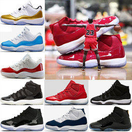 Wholesale Black Varsity - 2018 11 Men Basketball Shoes Prom Night Blackout Gym Red Midnight Navy Space Jam 72-10 Bred Concord Varsity Red 11s Sport Sneakers