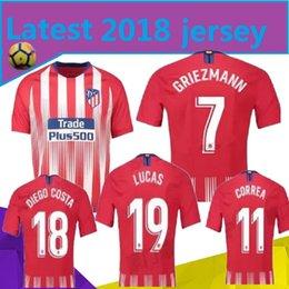 Últimas   7 GRIEZMANN Madri casa vermelho camisa de futebol 18 19   6 KOKE  camisa de futebol   8 SAUL   18 DIEGO COSTA uniforme de futebol de manga  curta c5f0ab6411440