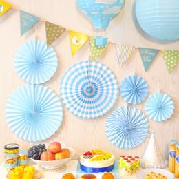 décorations de porte du nouvel an chinois Promotion 6pcs papier coloré fleurs papier moulinet fan artisanat origami mariage maison bébé douche fête d'anniversaire fond décorations murales