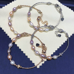 natürliches perlenarmband gold Rabatt Natürliche Frischwasserperlen-Armbänder für Frauen 6-7mm Oval Perlen-Schmuck-Geschenke 925 Silber-Haken-Ketten-Armband