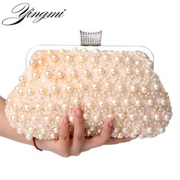 Wholesale Wholesale Beaded Handbags - YINGMI Evening Bags Women Clutch Bags Evening Clutch Wedding Bridal Handbag Pearl Beaded Lace Rose Fashion Rhinestone