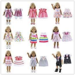 Wholesale 18 Inch American Doll - 15 Colors American Girl Doll Dress 18 Inch Doll Clothes And Accessories Dresses