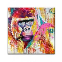 Pintado à mão HD Impresso pintura a óleo Abstrata Animal Feliz macaco Arte Da Parede de Alta Qualidade Home Decor Na Lona Multi Tamanhos Quadro Opções a65 de Fornecedores de decoração cocar