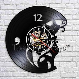 2019 horloges pour animaux de compagnie 1 Pièce Belle Chat Horloge Murale Personnalité Disque Vinyle Horloge Murale Kitty Animal Animal 3D Montres Nursery Decor Pour Enfants promotion horloges pour animaux de compagnie