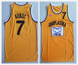 Укомплектованный штатный трикотаж онлайн-Мужчины Кино Тони Kukoc 7 Джерси Желтый Баскетбол Которого Сплит Поп-Джерси Все Сшитые Для Любителей Спорта Дышащий Высокое Качество