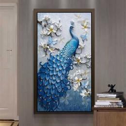 2019 fondo de pantalla de pavo real Custom Modern 3D Photo Wallpaper Relief Peacock Pintura al óleo Cafetería Mural de la puerta Puerta Salón Pasillo Decoración Pintura fondo de pantalla de pavo real baratos