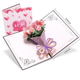 Mais novo 3D Blooming Cravo Cartão Postal Papel Cortado A Laser Pop up Cartões de Presente de Saudação Thanksgiving Obrigado Cartão do Dia das Mães de