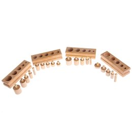 block year Promo Codes - Montessori Educational Wooden Toys For Children Cylinder Socket Blocks Toy Baby Development Practice and Senses 4pc 1 set-P101