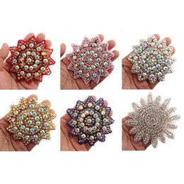 Wholesale sew rhinestones patches - 1PC Patch Rhinestone Hot fix Applique Strass Sewing Appliques For Hair Accessories Iron On Patch Motif Applique For Headbands