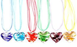 Pingentes de vidro murano on-line-QianBei Atacado 6 pçs / lote Multicolor Fantástico Coração murano Lampwork Pingente De Vidro colares Jóias Acessório artesanal de Jóias Artesanais