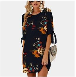 f3808968fae Robe tropicale imprimée 2018 femmes d été col rond manches mi-longues lâche  Shift Weekend Casual Dress N3-005 shift dress pas cher