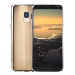 Дешевый двойной телефон разблокировки sim онлайн-Дешевый Goophone S9 2G GSM Разблокирована Металлический каркас Заднее стекло 5.5 дюймов Полный экран HD Двухъядерный MTK6572 512 МБ 512 МБ Android 7.0 Wi-Fi Смартфон