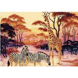 arte moderna do girafa da arte da lona Desconto Girafa Animais Frameless Pintura Diy By Numbers Modern Arte Da Parede Da Lona Pintura Acrílico Painitng Para Casa Wall Art Imagem