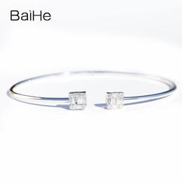eaf8d4851526 BAIHE Oro blanco de 14K sólido (AU585) 0.38ct Ronda de corte único Corte  cuadrado 100% genuino Diamantes naturales Regalo de compromiso Pulsera