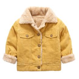 Bambini Parka europeo giallo caldo velluto a coste giacche per ragazzi inverno collo di pelliccia sintetica trapuntato spesso giacca bambini moda ragazzi cappotto da giallo trapuntato fornitori