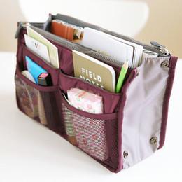 Wholesale Wholesale Wine Bags Fabric - Free Shipping Women Man Casual Travel Insert Multi Functional Cosmetic Handbag Organiser Large Liner Storage Bag Wine Red