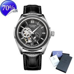 Wholesale Mens Golden Wrist Watches - CADISEN New Luxury Golden Mechanical Automatic Wrist Watch Rome Men Stainless Steel Band Skeleton Dial Mens Watch Time Gift