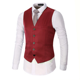 waistcoats v neck for suit Promo Codes - Autumn Winter New Vest Men 2018 Fashion Slim Fit Sleeveless Waistcoat Single Breasted V Neck Casual Suit Vests For Men S-3XL Hot