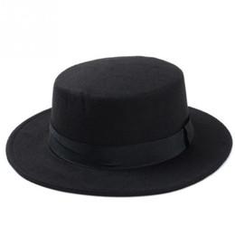 melbourne cup hüte Rabatt Marke Mode Wolle Boater Flat Top Hut für Frauen Filz Breiter Krempe Hut Laday Prok Kuchen Chapeu de Feltro Bowler Gambler Top