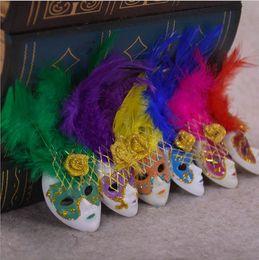 Decoração de veneza on-line-Requintado Itália Lembranças Mini Veneza Máscara De Pena Imã de geladeira Para Casa Sala de estar Decoração Ornamento Colorido 1 8zk BB
