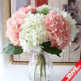 Wholesale Wedding Colors Orange - Artificial Hydrangea Flower Head 47cm Fake Silk Single Real Touch Hydrangeas 16 Colors for Wedding Centerpieces Home Party Decorative