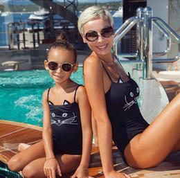 2018 Más Reciente Llegada Lindo Gato de la Historieta de La Madre y el Niño Hija de Una Pieza Trajes Bikini traje de baño ropa de playa Familia A juego desde fabricantes