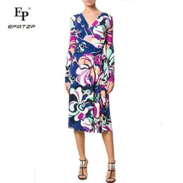 720e08333ea5 New 2018 Autumn Fashion Designer Dress Women s Long Sleeves V-Neck Stunning  Print XXL Stretch Jersey Slim Silk Day Dress