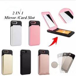 Canada Mode Flip Cosmétique Miroir Téléphone Cas Hybride PC + TPU Fille Maquillage Miroir Cas Fente Pour Carte Titulaire Portefeuille Couverture Arrière Pour iPhone X 8 7 6 6S Plus Offre