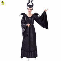 2021 fai vestito da halloween Adult's Witch Maleficent Costumi Sexy Nero Halloween Fatto Maleficent Vestito Cosplay Maleficent Fancy Dress Outfit Costume S19706 fai vestito da halloween economici