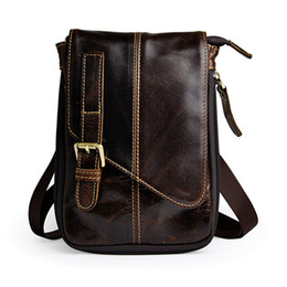 Wholesale Iphone Crossbody Bag - Casual Single shoulder Messenger Bags Coffee guarantee soft Cow Leather Waist Bag for iphone Crossbody Bag Bags For Man