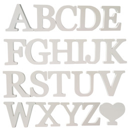 Wholesale Wall Sticker Wood - 2017 Wall Stickers Home Decor 3D English Wood Wooden White Letters Modern Classic house car sticker hot sale real kitchen