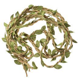bolsas de regalo de tela de encaje Rebajas 2 M DIY hojas artificiales guita de hilo con hojas de seda de hojas guirnaldas cuerda decoración del banquete de boda