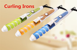 Wholesale Curling Iron Sizes - High-quality electric hair curling anti-scalding spiral curly hair stick explosion hair curlers 5 colors Curling Irons