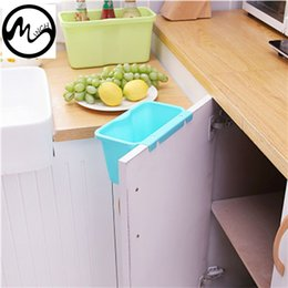 Wholesale Wholesale Garbage Cans - Minch Square Kitchen Cabinet Simple Mini Trash Storage Box Organizers Garbage Holder Portable Hang Type Garbage Can
