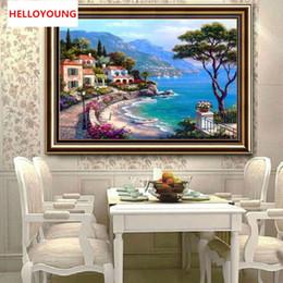 pinturas a óleo abstratas do oceano Desconto Diy completa diamantes bordados paisagem mediterrânica rodada pintura diamante kits de ponto cruz diamante mosaic home decor