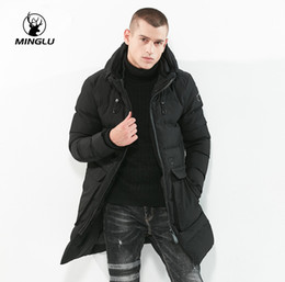 Wholesale add winter coats - Minglu Brand New Winter Jacket Middle Long Add Thick Men's Parkas Hight Quality Solid Color Men's Fashion Coat Plus Size 3XL