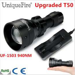 UniqueFire 1503 Yükseltildi T50 Zumlanabilir LED Torche Osram IR 940nm 50mm Dışbükey Lens Avcılık Için 3 Mod Lambası Su Geçirmez cheap osram led lamp nereden osram led lamba tedarikçiler