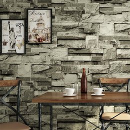 eco paper roll Promo Codes - 3D Brick Stripe Wallpaper Restaurant Bar Vintage Background Wall Sticker Nonwoven Fabric Living Space Decorate Eco Friendly 38yc ii