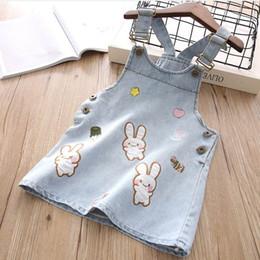 Wholesale overall denim dress - Summer New Girl Dress Cartoon embroidery denim overalls Children Clothing P9156