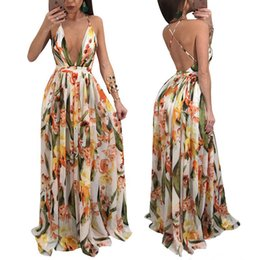 Wholesale empire halter floor length chiffon - 2018 new Women Casual Dresses Fashion floral printing Chiffon Long Skirts backless Halter Party bandage Dresses Sexy Deep V Strapless Dress