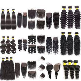 2019 königin lieben reines haar Perstar Human Hair 3 Bundles mit Verschluss 100% unverarbeitete gerade verworrene lockige Körperwelle Deep Wave Virgin Hair 3 Bundles mit Frontal