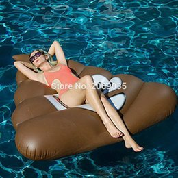 Wholesale inflatable stools - 160CM Giant Stool Inflatable Pool Float Lounger Smile Emoji Swimming Ring For Adults Water Holiday Party Outdoor Toys Chocolate