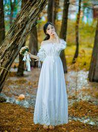 Wholesale Goddess Shirt - Bridesmaid Dress Vintage Princess Nightgowns Goddess Long Dress White Cotton Sleepwear For Women Pregnant women Plus size