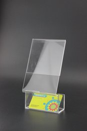 Wholesale Name Card Stand Holder - 10 pcs Acrylic Business name card holder display box office exhibition show label holder stand desktop company brochure