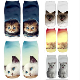niños cordones legging al por mayor Rebajas Calcetines de gato Impresión 3D Calcetines femeninos Calcetines de tobillo de corte bajo Calcetines Mujer Calcetería Casual Calcetín Impreso