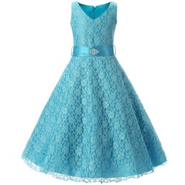 Wholesale Teenage Girls Yellow Dresses - Teenage Girl Clothes Summer 2018 Lace Flower Girl Dress For Wedding Party Kids Clothes Children's Princess Costume 10 12 14 Year