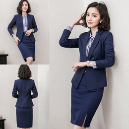 Wholesale Gold Ladies Evening Suit - Fashion Navy Blue Formal Women Suit Two Pieces (Jacket+Skirt) Career Formal Suits Office Lady Wear Handsome Evening Dresses Prom Custom Made